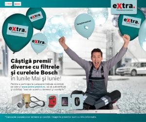 Programul de loialitate extra te premiază în perioada Mai-Iunie pentru filtrele și curelele Bosch!