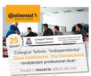 "Continental si Colegiul Tehnic ""Independenta"" din Sibiu infiinteaza clasa Continental in sistemul de invatamant profesional dual"