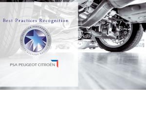 Best Practices Recognition pentru Schaeffler România din partea PSA Peugeot Citroen
